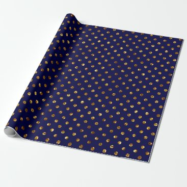 Christmas Themed Christmas Gold Glitter Dots Navy Wrapping Paper