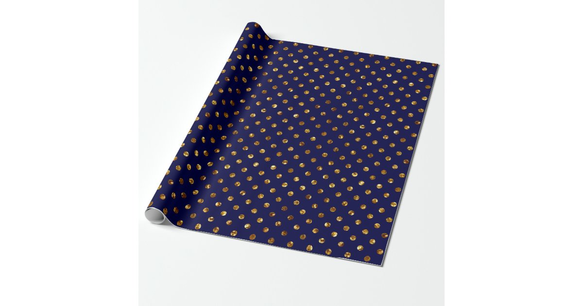 Christmas Gold Glitter Dots Navy Wrapping Paper Zazzle Com
