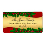 """Christmas Gold Holly Leaves Address Labels<br><div class=""""desc"""">Christmas Gold Yellow Red Green Address Labels. Elegant Holly Leaves design.</div>"""