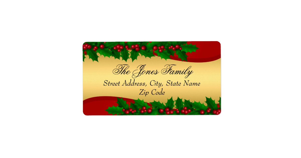 christmas gold holly leaves address labels zazzle com