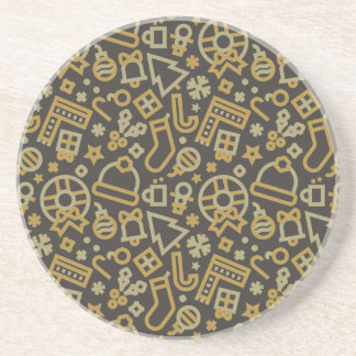 Christmas Gold on Black Icons Pattern Drink Coaster