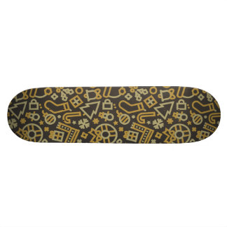 Christmas Gold on Black Icons Pattern Skateboard Deck