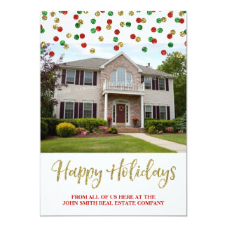Christmas Gold Red Confetti Photo Card Real Estate