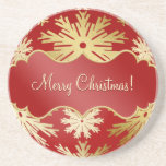 Christmas Gold Red Snowflakes coaster