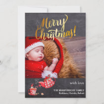 Christmas Gold Script Chalkboard Modern Watercolor Holiday Card
