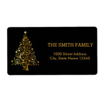 Christmas Gold Tree with Black Background Label
