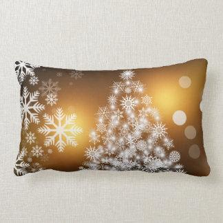 Christmas gold white tree throw pillow