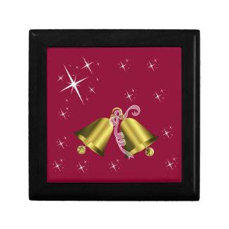 Christmas Golden Bell & White Star Jewellery Box