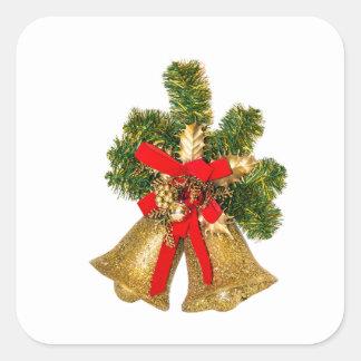christmas golden bells square sticker