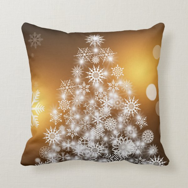 Christmas Golden Bokeh Snowflake Tree Throw Pillow