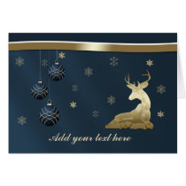Christmas, Golden Deer and Snowflakes Card
