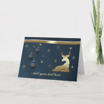 Christmas, Golden Deer and Snowflakes Holiday Card