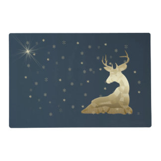 Christmas, Golden Deer and Snowflakes Placemat
