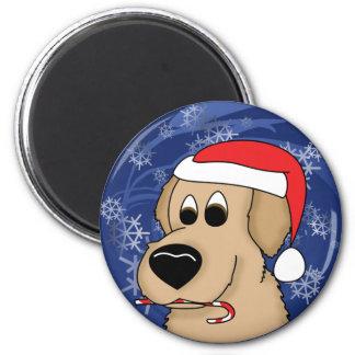 Christmas Golden Retriever 2 Inch Round Magnet