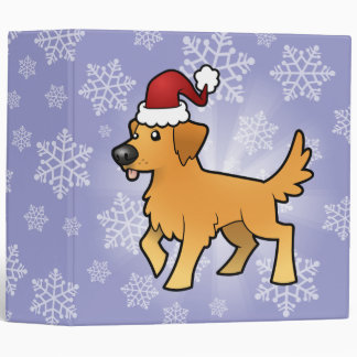 Christmas Golden Retriever 3 Ring Binder