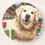 Christmas - Golden Retriever - Abby Beverage Coaster