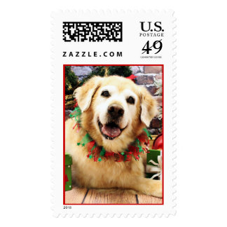Christmas - Golden Retriever - Abby Postage Stamps