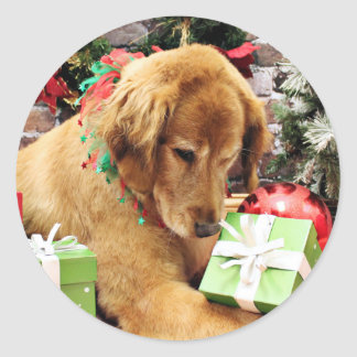 Christmas - Golden Retriever - Addison Classic Round Sticker