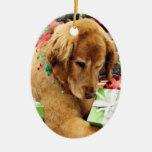 Christmas - Golden Retriever - Addison Double-Sided Oval Ceramic Christmas Ornament