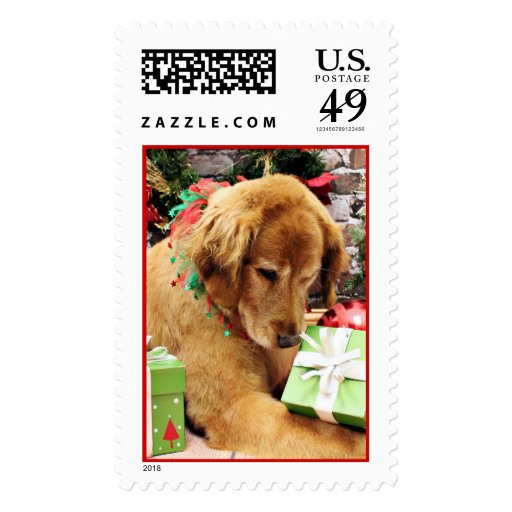 Christmas - Golden Retriever - Addison Postage Stamp