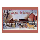 Christmas Golden Retriever and Horses At The Farm Card