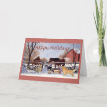 Christmas Golden Retriever and Horses At The Farm Holiday Card