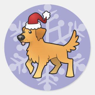 Christmas Golden Retriever Classic Round Sticker