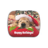 Christmas Golden Retriever Dog Asleep Under Tree Candy Tin