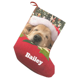 Christmas Golden Retriever Dog Asleep Under Tree Small Christmas Stocking
