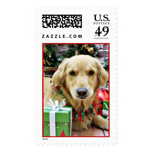 Christmas - Golden Retriever - Iris Postage Stamp
