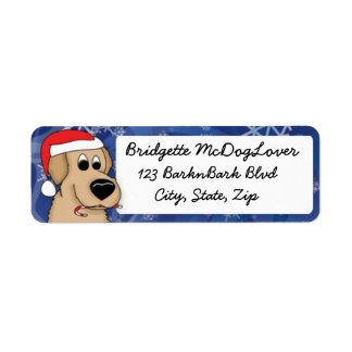 Christmas Golden Retriever Return Address Label