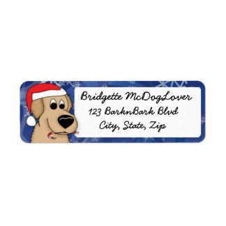 Christmas Golden Retriever Label