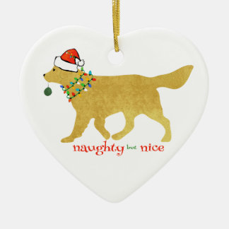 Christmas Golden Retriever Naughty but Nice Ceramic Ornament
