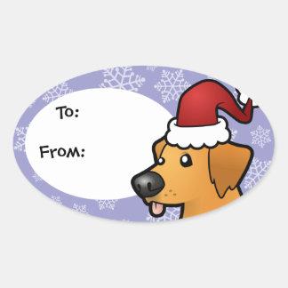 Christmas Golden Retriever Oval Sticker