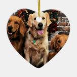 Christmas Golden Retriever Packer Bella Darby #50 Double-Sided Heart Ceramic Christmas Ornament