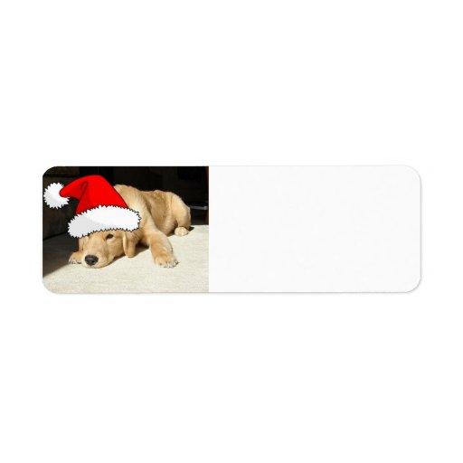 Christmas Golden Retriever Pup Return Address Labels