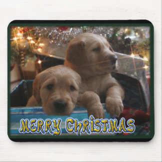 CHRISTMAS GOLDEN RETRIEVER PUPPIES UNDER TREE MOUSE PAD