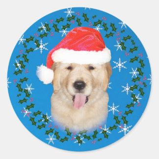 Christmas Golden Retriever Puppy Round Sticker