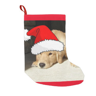 Christmas Golden Retriever Puppy Small Christmas Stocking