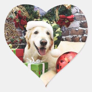 Christmas - Golden Retriever - Sam Heart Sticker
