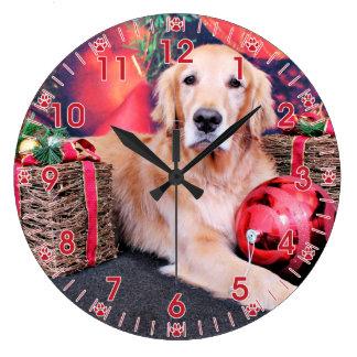 Christmas - Golden Retriever - Sky Large Clock
