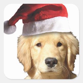 Christmas Golden Retriever Square Sticker