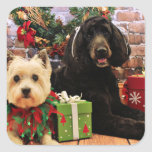 Christmas - GoldenDoodle Abby - Cairn Terrier Roxy Sticker