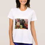 Christmas - GoldenDoodle Abby - Cairn Terrier Roxy Tee Shirts