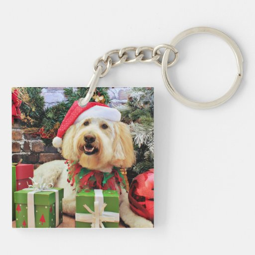 Christmas - GoldenDoodle - Bella Double-Sided Square Acrylic Keychain
