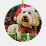 Christmas - GoldenDoodle - Bella Double-Sided Ceramic Round Christmas Ornament