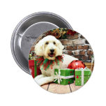 Christmas - GoldenDoodle - Biscuit Pinback Button