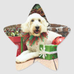 Christmas - GoldenDoodle - Biscuit Star Stickers