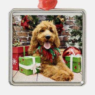 Christmas - GoldenDoodle - Claire Metal Ornament