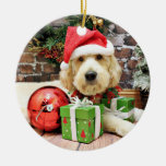 Christmas - GoldenDoodle - Gus Ceramic Ornament